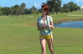 golfing white milf in action