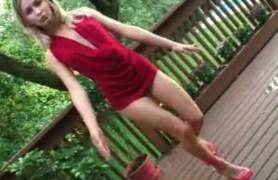 teen kasia in red dress