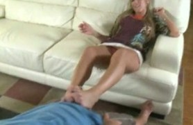 footjob and blowjob