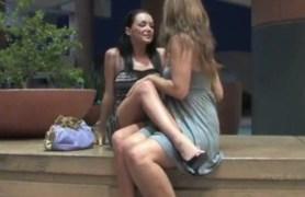 lesbians spread their legs in public places