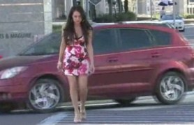 stylish brunette flashing in public