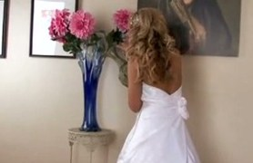 bride in white cute white dress gets pounded