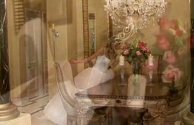 bride in white wedding dress spreading legs