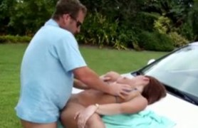 lindsey lovehands gets fucked on a car's hood