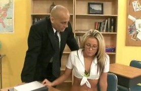 beautiful blonde student gets teached hard, on  a desk
