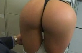 big young ass gets fucked hard by two. office.