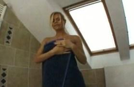 beautiful blonde european masturbates after shower