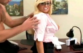 fashionable blonde angelina ash is a new secretary