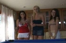 three lesbian hotties enjoying the game