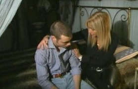 blonde step-mom in stockings seducing son.