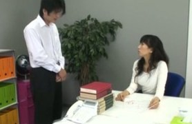 asian office girl in pantyhose and her coworker.
