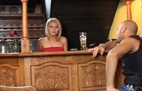 cute young barmaid fucking and swallowing.