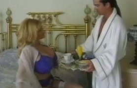 blonde milf with giant tits having pussy breakfast.