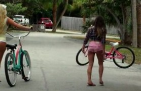 girls riding the cruisers.