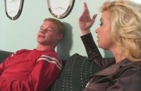 busty blonde milf fucking younger cock and taking facial.