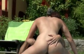 beauty gets double fucked in the pool.