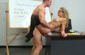 blonde student gets nailed on the desk.