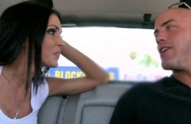 jessica jaymes giving head in a car.