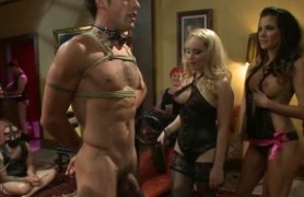 40 women join maitresse madeline to submit a guy.