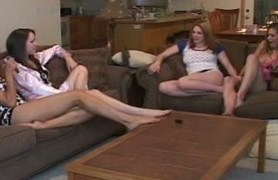 4 redhead amateur teen lesbians having fun.