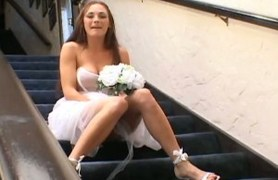 fashionable bride getting fucked by two.