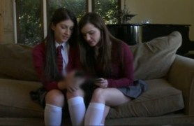 two schoolgirls giving their fresh pussies.