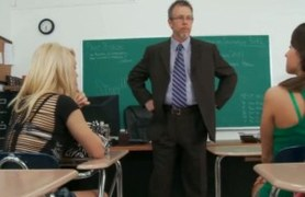 old teacher examing lizz and tegan.