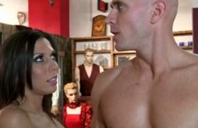 porn star fucks at a sex shop.