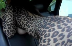 natural titted latina sucking and fucking skinny cock in the car