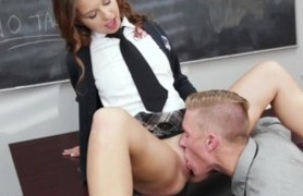 cute schoolgirl gets her pussy licked and fucked